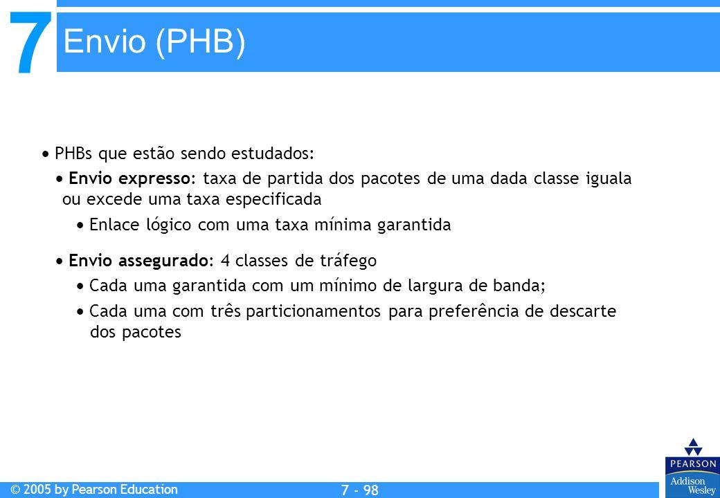 7 © 2005 by Pearson Education 7 - 98 Envio (PHB) PHBs que estão sendo estudados: Envio expresso: taxa de partida dos pacotes de uma dada classe iguala