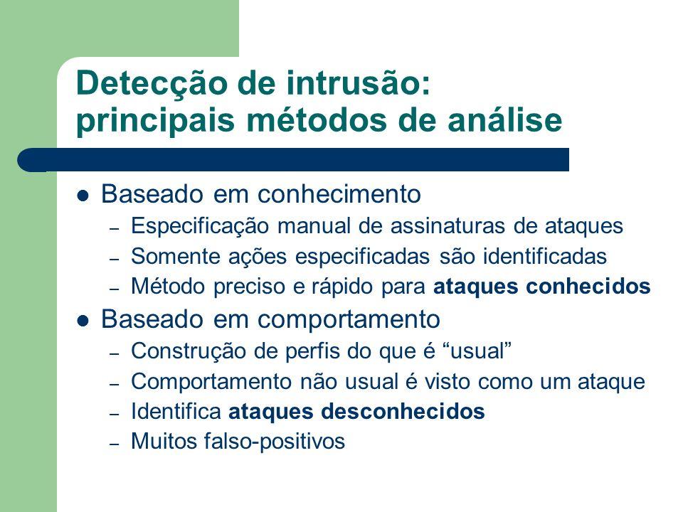 Detecção de intrusão: principais métodos de análise Baseado em conhecimento – Especificação manual de assinaturas de ataques – Somente ações especific