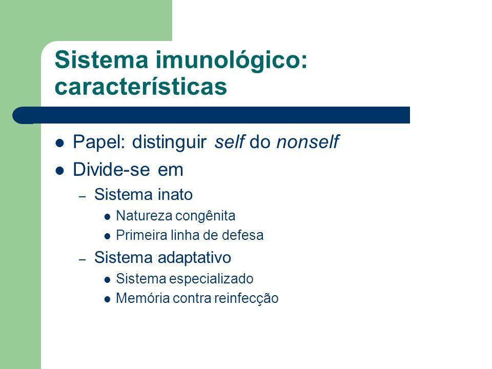 Sistema imunológico: características Papel: distinguir self do nonself Divide-se em – Sistema inato Natureza congênita Primeira linha de defesa – Sist
