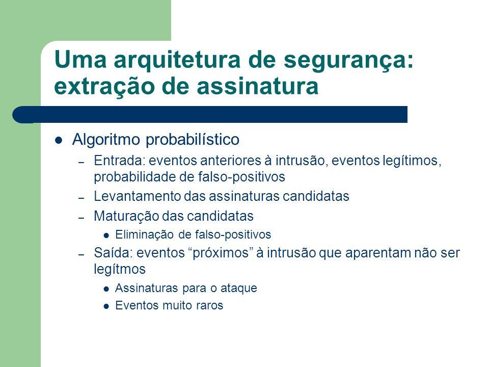 Uma arquitetura de segurança: extração de assinatura Algoritmo probabilístico – Entrada: eventos anteriores à intrusão, eventos legítimos, probabilida
