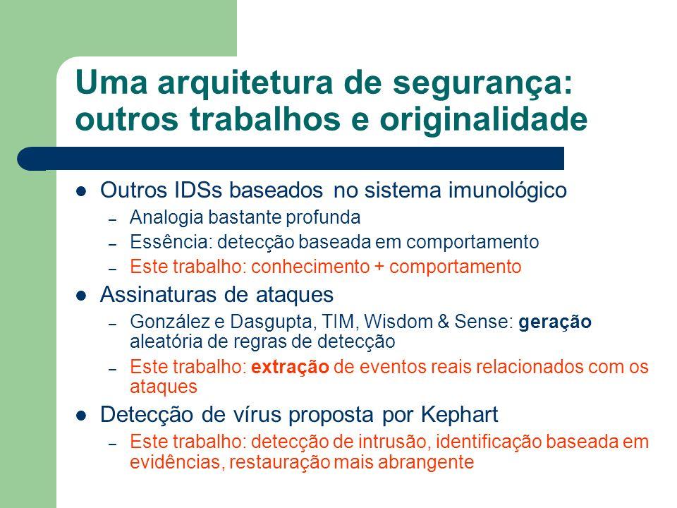 Uma arquitetura de segurança: outros trabalhos e originalidade Outros IDSs baseados no sistema imunológico – Analogia bastante profunda – Essência: de