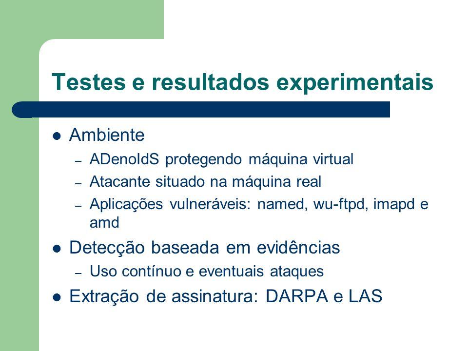 Testes e resultados experimentais Ambiente – ADenoIdS protegendo máquina virtual – Atacante situado na máquina real – Aplicações vulneráveis: named, w