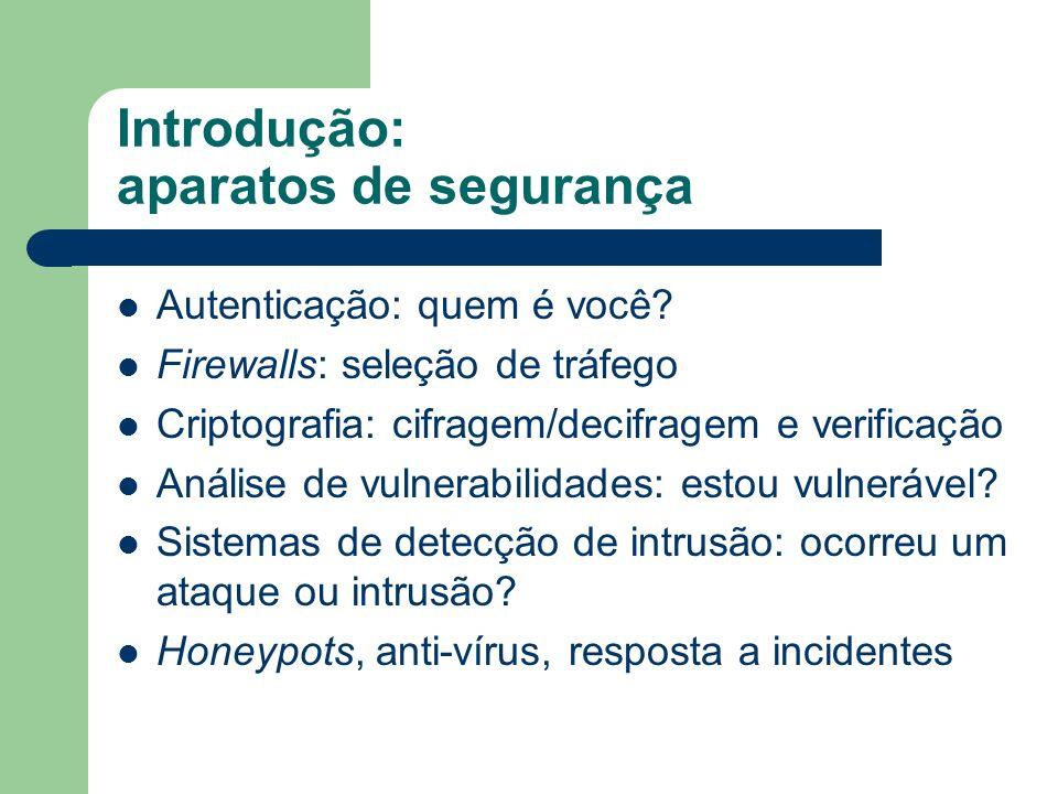Introdução: aparatos de segurança Autenticação: quem é você? Firewalls: seleção de tráfego Criptografia: cifragem/decifragem e verificação Análise de