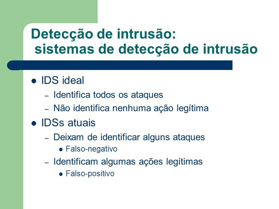 Detecção de intrusão: sistemas de detecção de intrusão IDS ideal – Identifica todos os ataques – Não identifica nenhuma ação legítima IDSs atuais – De
