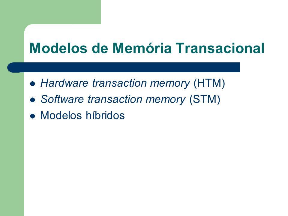 Modelos de Memória Transacional Hardware transaction memory (HTM) Software transaction memory (STM) Modelos híbridos