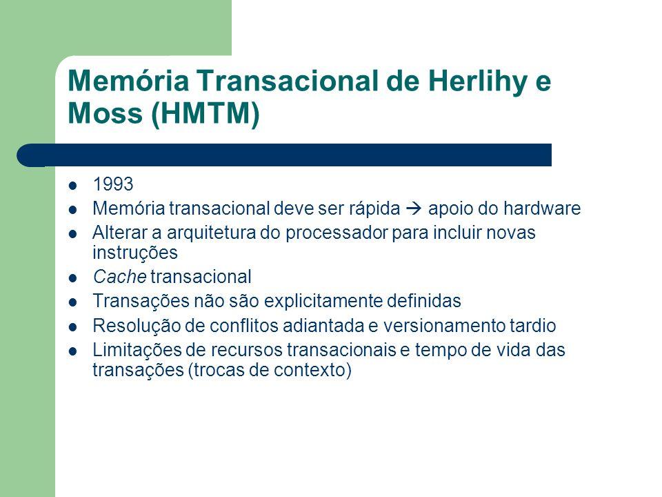 Memória Transacional de Herlihy e Moss (HMTM) 1993 Memória transacional deve ser rápida apoio do hardware Alterar a arquitetura do processador para in