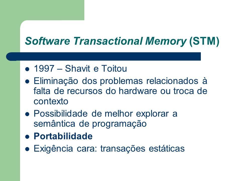 Software Transactional Memory (STM) 1997 – Shavit e Toitou Eliminação dos problemas relacionados à falta de recursos do hardware ou troca de contexto