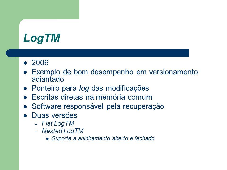 LogTM 2006 Exemplo de bom desempenho em versionamento adiantado Ponteiro para log das modificações Escritas diretas na memória comum Software responsá