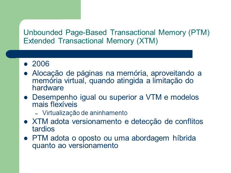 Unbounded Page-Based Transactional Memory (PTM) Extended Transactional Memory (XTM) 2006 Alocação de páginas na memória, aproveitando a memória virtua