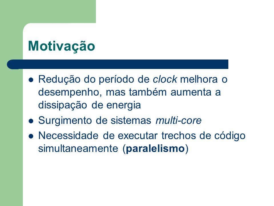 Motivação Redução do período de clock melhora o desempenho, mas também aumenta a dissipação de energia Surgimento de sistemas multi-core Necessidade d