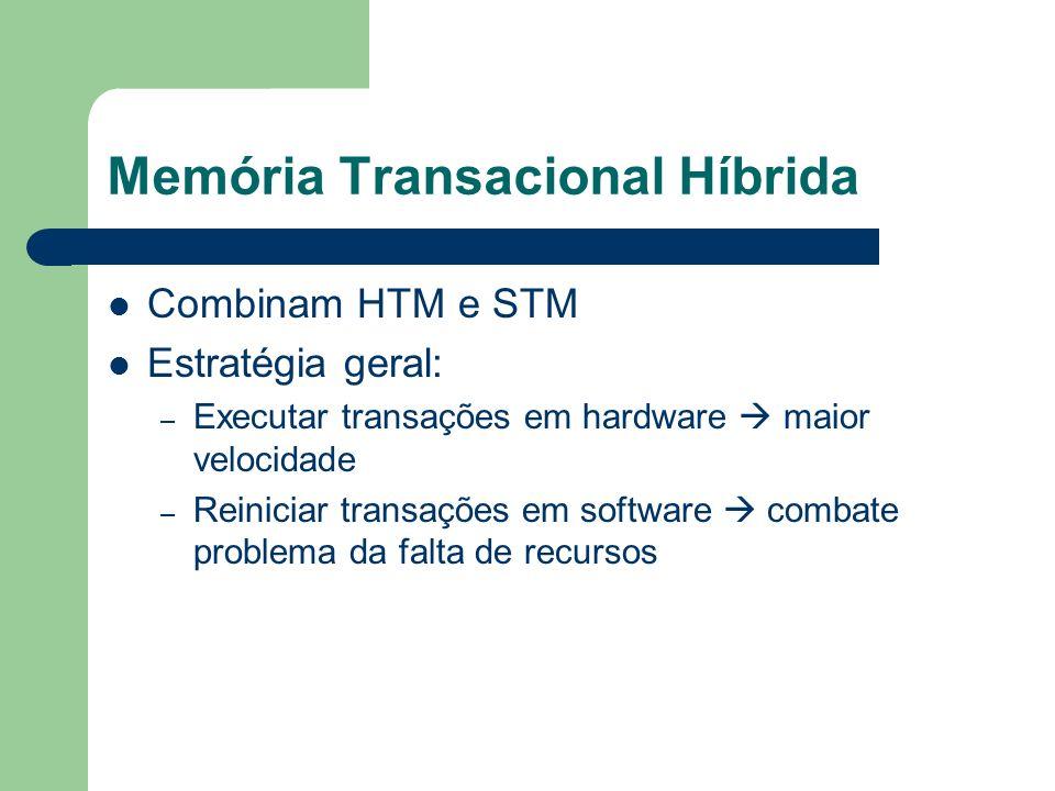Memória Transacional Híbrida Combinam HTM e STM Estratégia geral: – Executar transações em hardware maior velocidade – Reiniciar transações em softwar