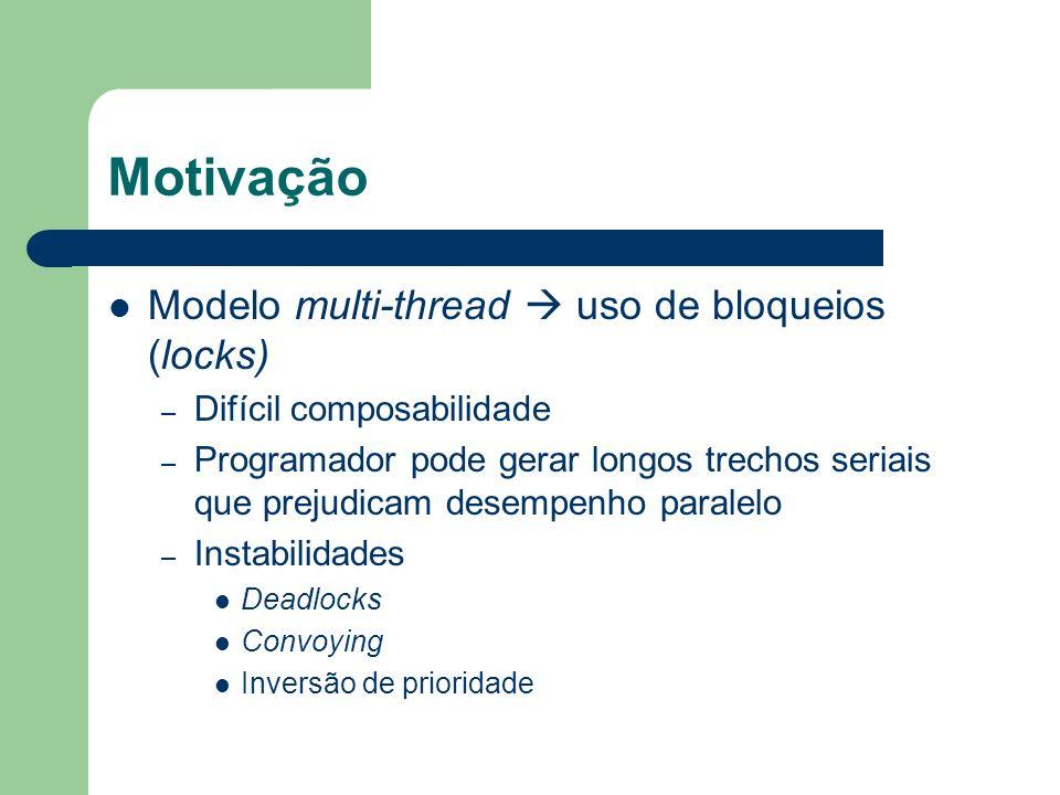 Motivação Modelo multi-thread uso de bloqueios (locks) – Difícil composabilidade – Programador pode gerar longos trechos seriais que prejudicam desemp