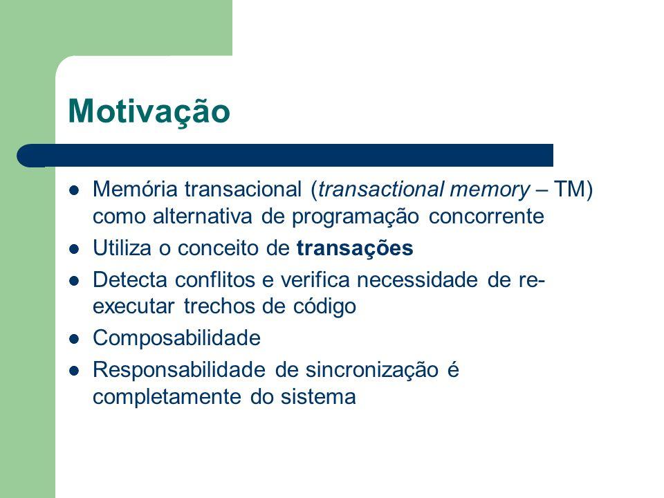 Unbounded Transactional Memory (UTM) 2005 Desempenho do hardware, eliminando restrições do HMTM Utópico exige muitas modificações na arquitetura Virtualização do tempo e do espaço Detecção de conflitos adiantada, versionamento adiantado e flattening
