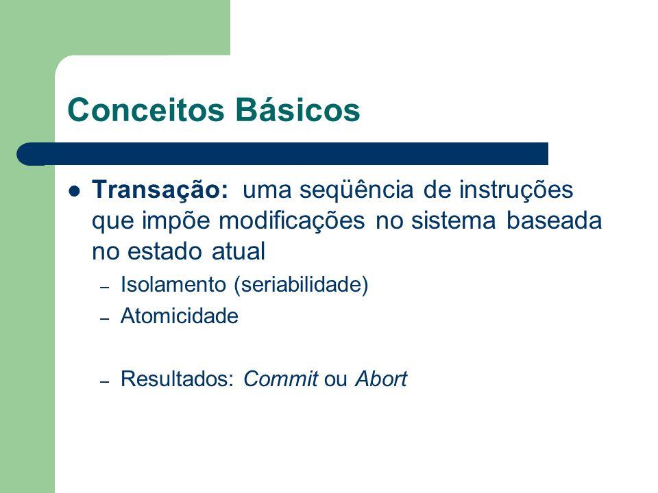 Conceitos Básicos Transação: uma seqüência de instruções que impõe modificações no sistema baseada no estado atual – Isolamento (seriabilidade) – Atom