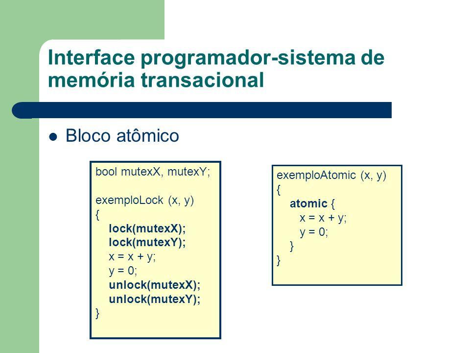 Interface programador-sistema de memória transacional Retry orElse atomic { if (tamanhoFila > 0) fila.remover(); else retry; } atomic { { filaPref.atender(); } orElse { filaRegular.atender(); } }