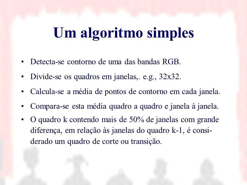 Nielsen Cassiano Simões44 Um algoritmo simples Detecta-se contorno de uma das bandas RGB. Divide-se os quadros em janelas,. e.g., 32x32. Calcula-se a