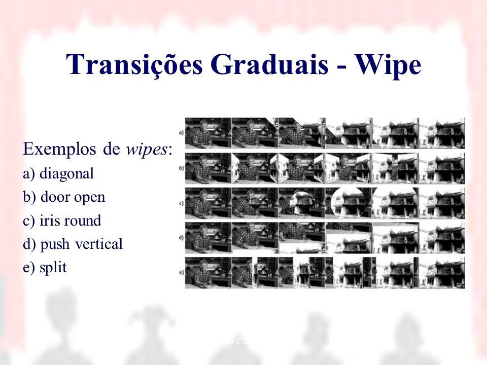 Nielsen Cassiano Simões8 Transições Graduais - Wipe Exemplos de wipes: a) diagonal b) door open c) iris round d) push vertical e) split