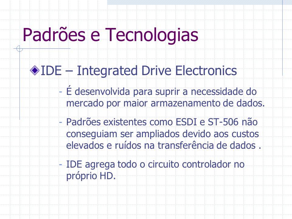 Padrões e Tecnologias IDE – Integrated Drive Electronics - O computador passa a ver e acessar o HD como um vetor de blocos de 512 bytes.