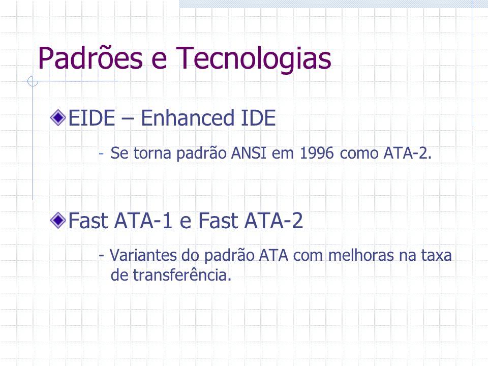Padrões e Tecnologias ATAPI – Attachment Packet Interface - Transpõem o padrão ATA para outros dispositivos com comportamento semelhante ao de um disco rígido, como um CD-ROM.