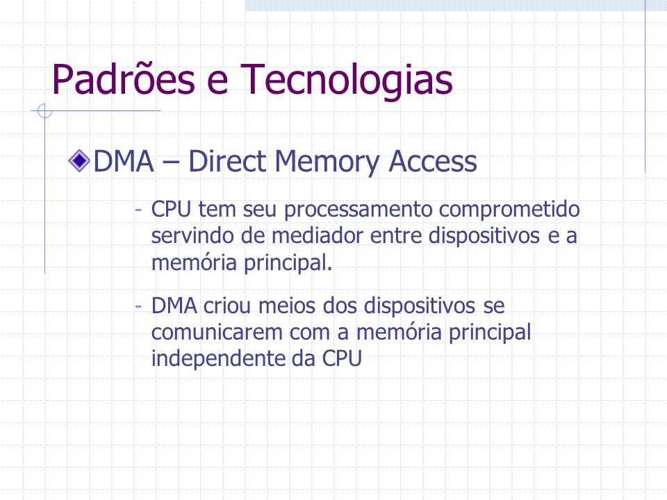 Padrões e Tecnologias DMA – Direct Memory Access - HDs, placas de rede, placas de som, placa de video e GPUs se beneficiaram dessa tecnologia.