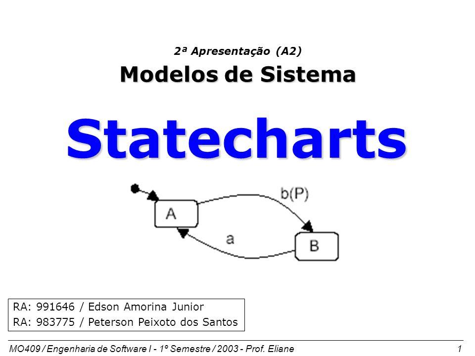 MO409 / Engenharia de Software I - 1º Semestre / 2003 - Prof. Eliane 1 2ª Apresentação (A2) Modelos de Sistema RA: 991646 / Edson Amorina Junior RA: 9