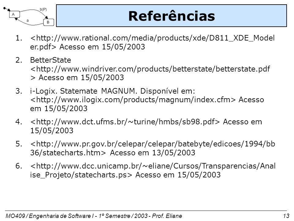 MO409 / Engenharia de Software I - 1º Semestre / 2003 - Prof. Eliane 13 Referências 1. Acesso em 15/05/2003 2.BetterState Acesso em 15/05/2003 3.i-Log