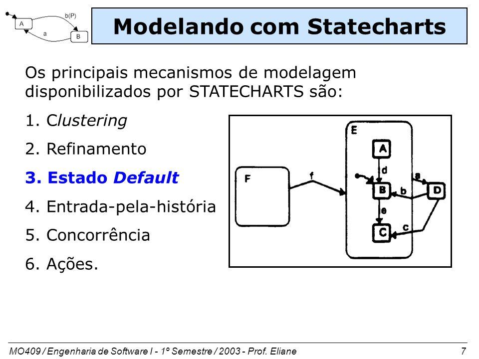 MO409 / Engenharia de Software I - 1º Semestre / 2003 - Prof. Eliane 7 Modelando com Statecharts Os principais mecanismos de modelagem disponibilizado