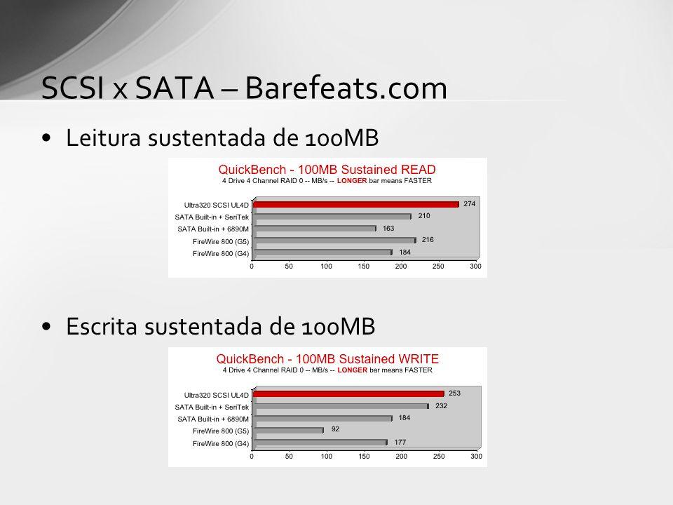 Leitura sustentada de 100MB Escrita sustentada de 100MB SCSI x SATA – Barefeats.com