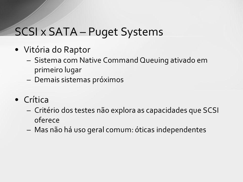 Vitória do Raptor –Sistema com Native Command Queuing ativado em primeiro lugar –Demais sistemas próximos Crítica –Critério dos testes não explora as