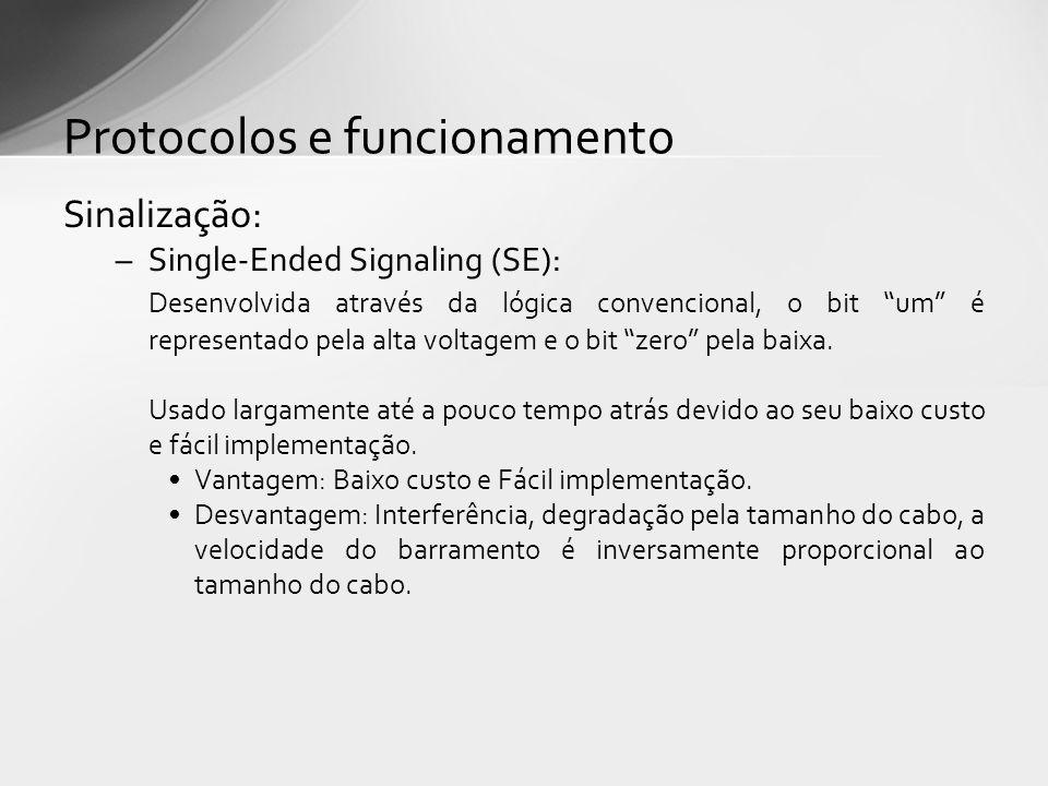 Sinalização: –Single-Ended Signaling (SE): Desenvolvida através da lógica convencional, o bit um é representado pela alta voltagem e o bit zero pela b