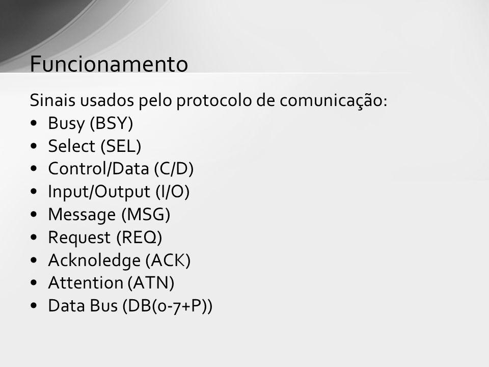 Sinais usados pelo protocolo de comunicação: Busy (BSY) Select (SEL) Control/Data (C/D) Input/Output (I/O) Message (MSG) Request (REQ) Acknoledge (ACK