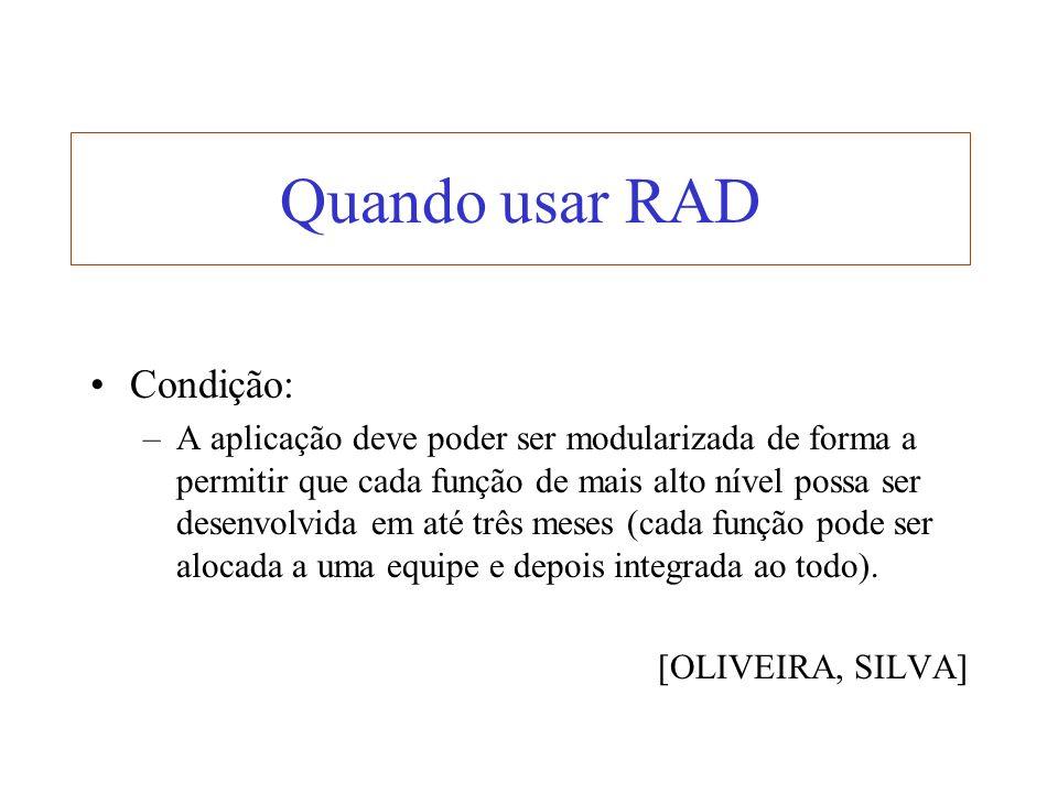 Quando usar RAD Condição: –A aplicação deve poder ser modularizada de forma a permitir que cada função de mais alto nível possa ser desenvolvida em at