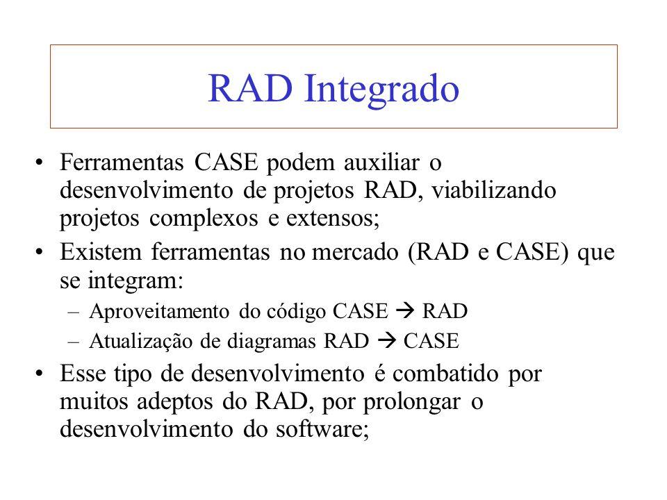 RAD Integrado Ferramentas CASE podem auxiliar o desenvolvimento de projetos RAD, viabilizando projetos complexos e extensos; Existem ferramentas no me