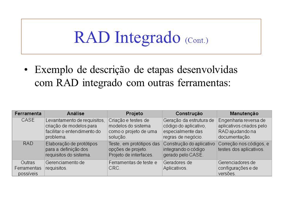 RAD Integrado (Cont.) Exemplo de descrição de etapas desenvolvidas com RAD integrado com outras ferramentas: FerramentaAnáliseProjetoConstruçãoManuten