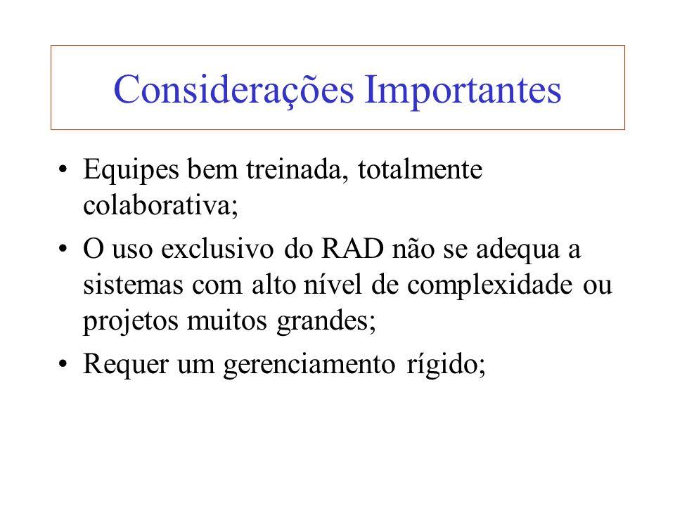 Considerações Importantes Equipes bem treinada, totalmente colaborativa; O uso exclusivo do RAD não se adequa a sistemas com alto nível de complexidad