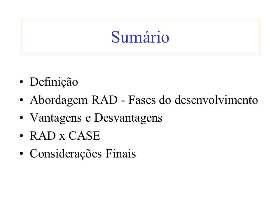 Sumário Definição Abordagem RAD - Fases do desenvolvimento Vantagens e Desvantagens RAD x CASE Considerações Finais