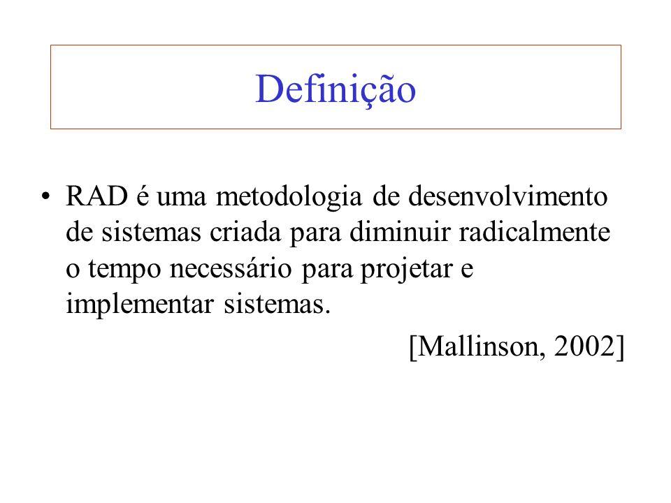 Definição RAD é uma metodologia de desenvolvimento de sistemas criada para diminuir radicalmente o tempo necessário para projetar e implementar sistem