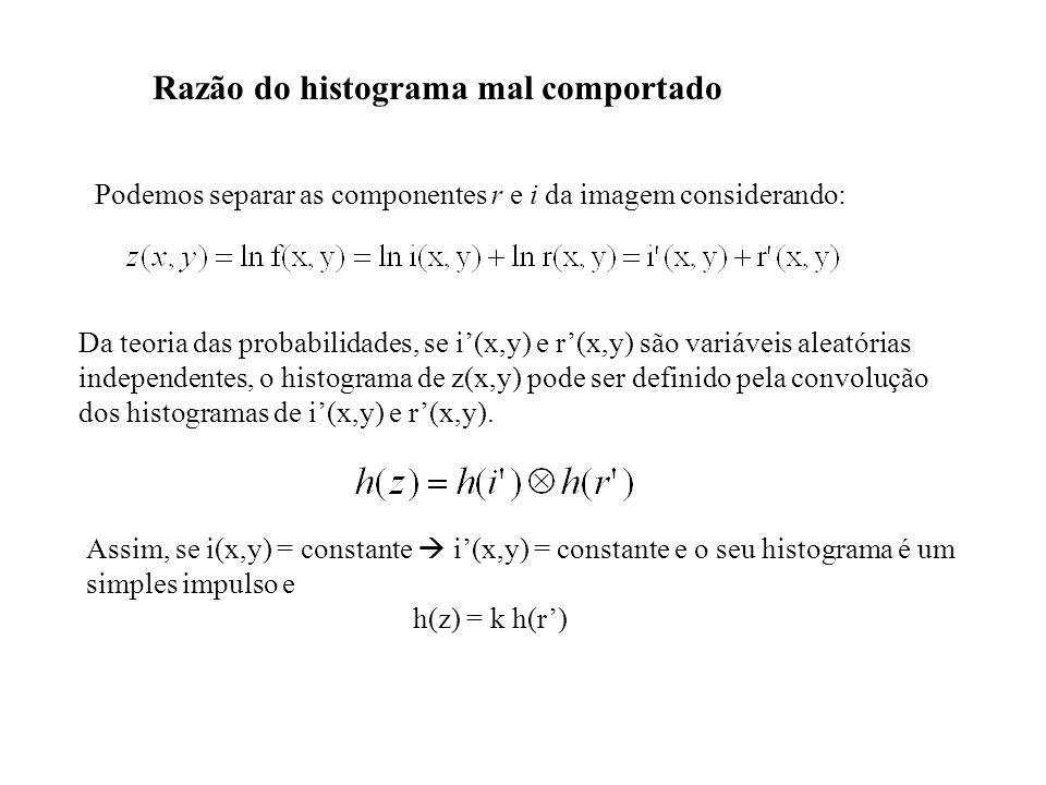 Razão do histograma mal comportado Podemos separar as componentes r e i da imagem considerando: Da teoria das probabilidades, se i(x,y) e r(x,y) são v