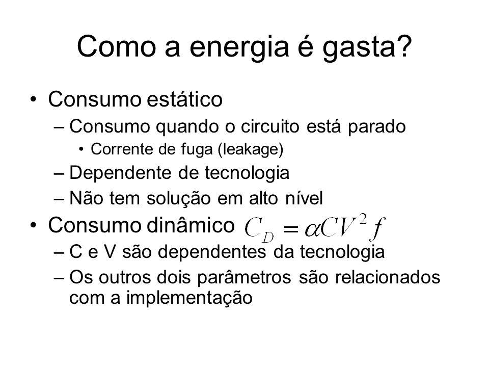 Como a energia é gasta? Consumo estático –Consumo quando o circuito está parado Corrente de fuga (leakage) –Dependente de tecnologia –Não tem solução