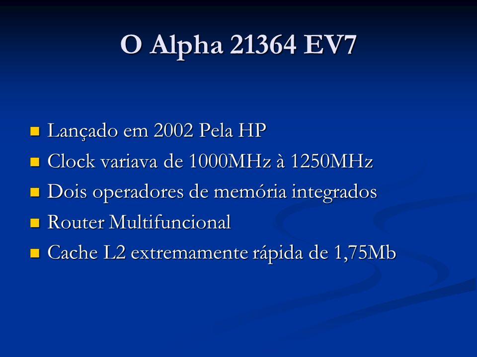 O Alpha 21364 EV7 Lançado em 2002 Pela HP Lançado em 2002 Pela HP Clock variava de 1000MHz à 1250MHz Clock variava de 1000MHz à 1250MHz Dois operadore