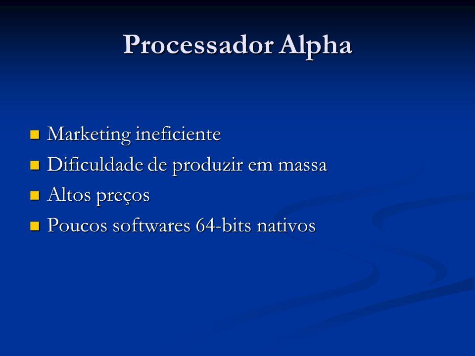 Processador Alpha Marketing ineficiente Marketing ineficiente Dificuldade de produzir em massa Dificuldade de produzir em massa Altos preços Altos pre