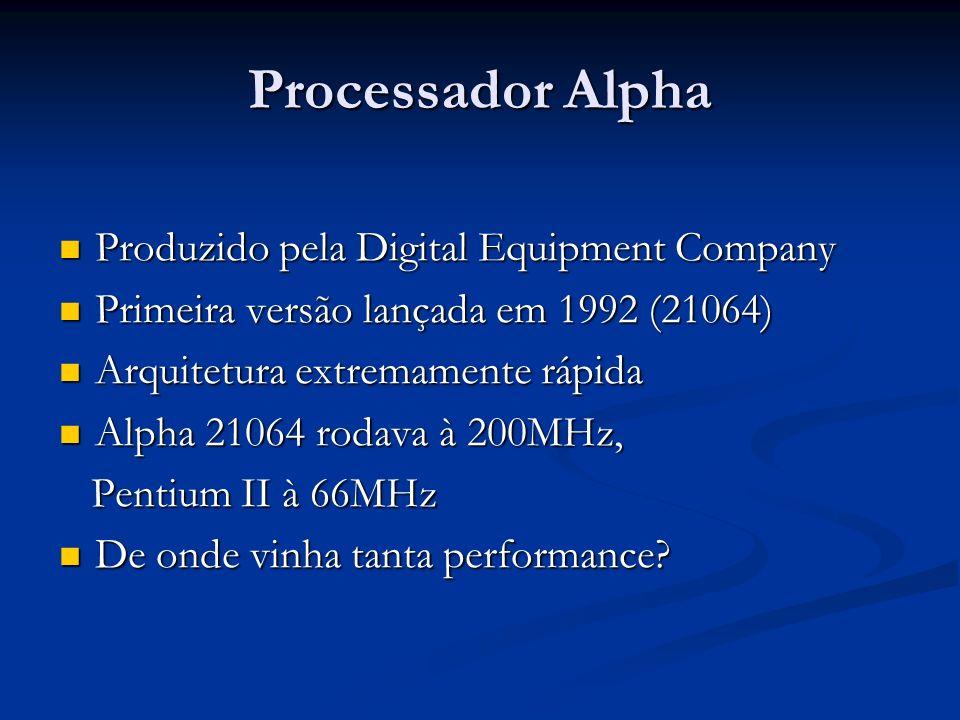 Processador Alpha Produzido pela Digital Equipment Company Produzido pela Digital Equipment Company Primeira versão lançada em 1992 (21064) Primeira v