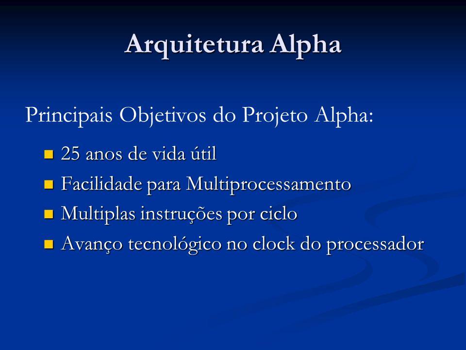 Arquitetura Alpha 25 anos de vida útil 25 anos de vida útil Facilidade para Multiprocessamento Facilidade para Multiprocessamento Multiplas instruções por ciclo Multiplas instruções por ciclo Avanço tecnológico no clock do processador Avanço tecnológico no clock do processador Principais Objetivos do Projeto Alpha: