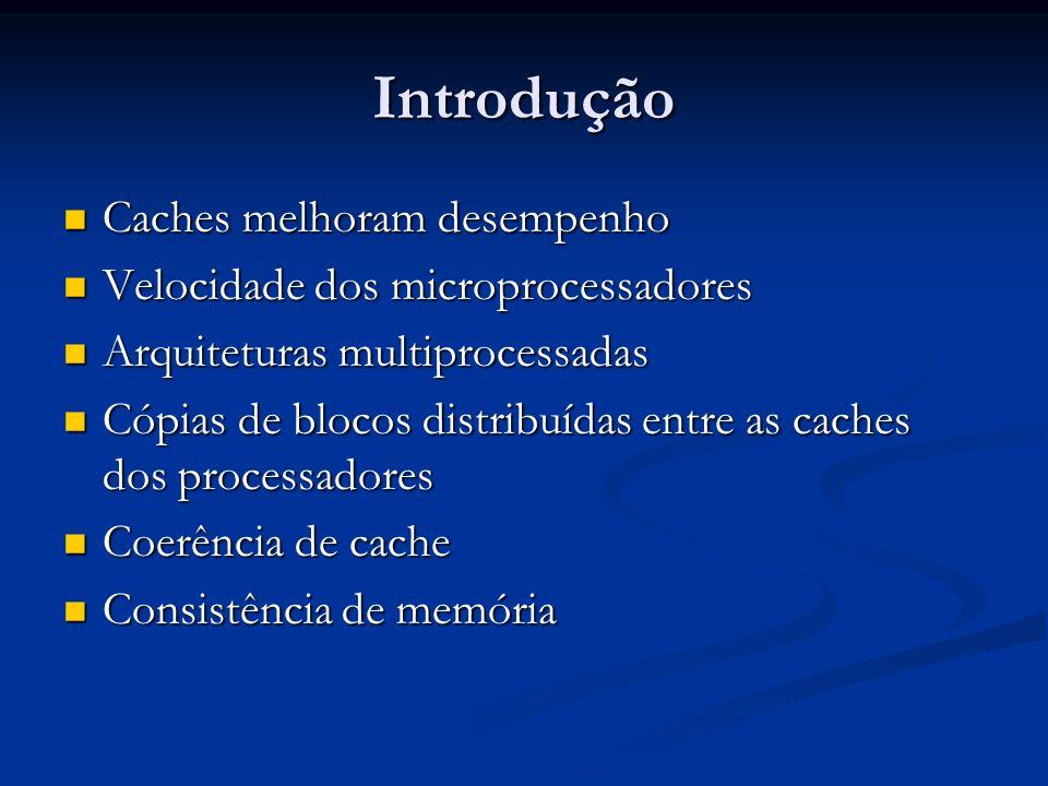 Coerência de Memórias Cache Conceitos Iniciais Software Software Análise de código pelo compilador Análise de código pelo compilador Evitam o uso de hardware especial Evitam o uso de hardware especial Pode levar a uma utilização ineficiente da cache Pode levar a uma utilização ineficiente da cache Hardware Hardware Mantém coerência em tempo de execução Mantém coerência em tempo de execução Protocolos de monitoração Protocolos de monitoração Protocolos baseados em diretórios Protocolos baseados em diretórios