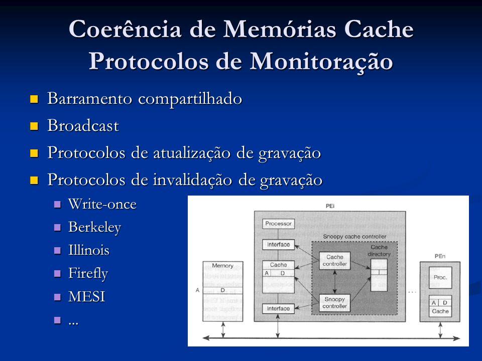 Coerência de Memórias Cache Protocolos de Monitoração Barramento compartilhado Barramento compartilhado Broadcast Broadcast Protocolos de atualização