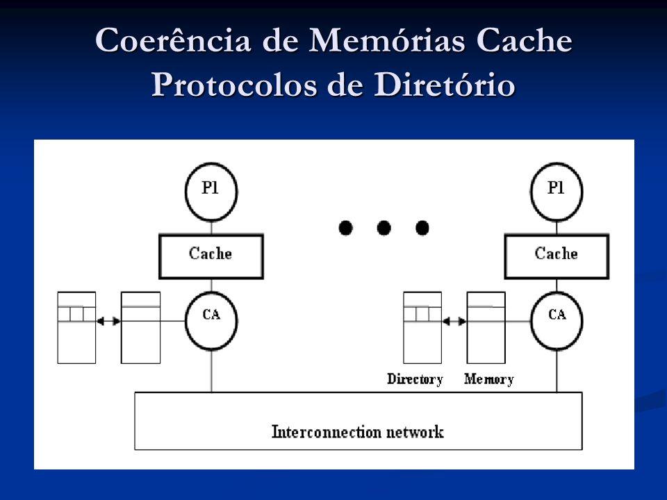 Informações de compartilhamento são armazenados em diretórios Informações de compartilhamento são armazenados em diretórios Centralizado – memória centralizada Centralizado – memória centralizada Distribuído – memória distribuída Distribuído – memória distribuída Entrada de Diretório Entrada de Diretório Estado do bloco da memória / cache Estado do bloco da memória / cache Lista de compartilhadores Lista de compartilhadores Escalabilidade – muitos processadores.
