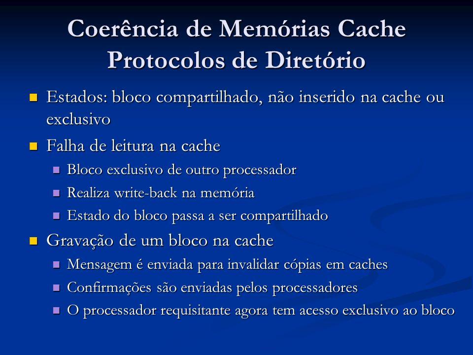 Coerência de Memórias Cache Protocolos de Diretório Estados: bloco compartilhado, não inserido na cache ou exclusivo Estados: bloco compartilhado, não