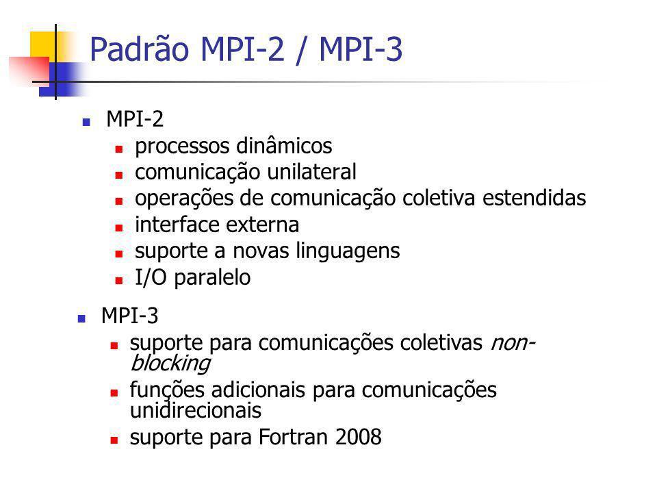 Padrão MPI-2 / MPI-3 MPI-2 processos dinâmicos comunicação unilateral operações de comunicação coletiva estendidas interface externa suporte a novas l