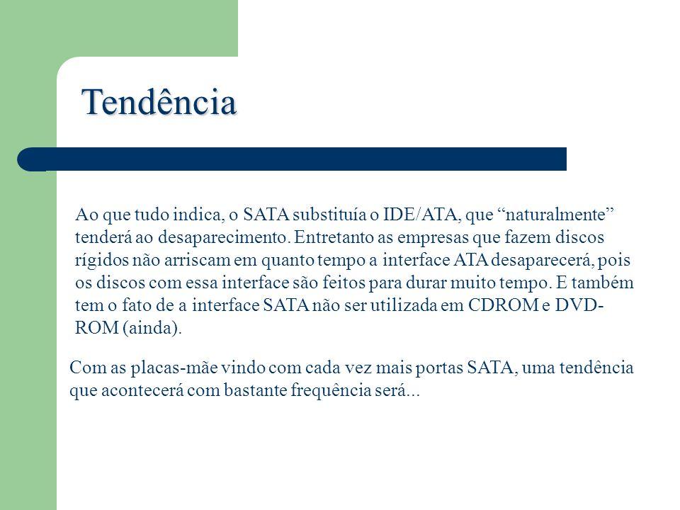 Tendência Ao que tudo indica, o SATA substituía o IDE/ATA, que naturalmente tenderá ao desaparecimento. Entretanto as empresas que fazem discos rígido