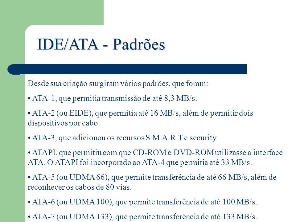 IDE/ATA - Padrões Desde sua criação surgiram vários padrões, que foram: ATA-1, que permitia transmissão de até 8,3 MB/s. ATA-2 (ou EIDE), que permitia